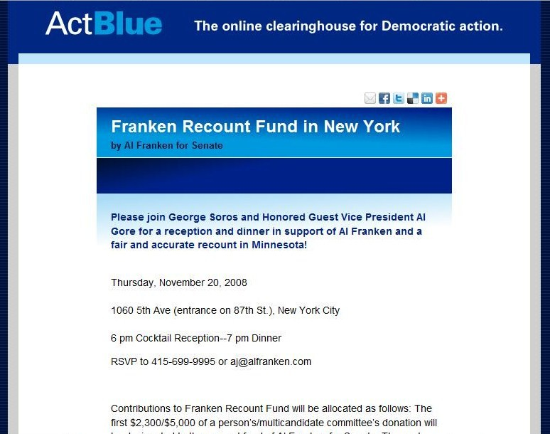 ActBlue Soros dinner for Franken #1