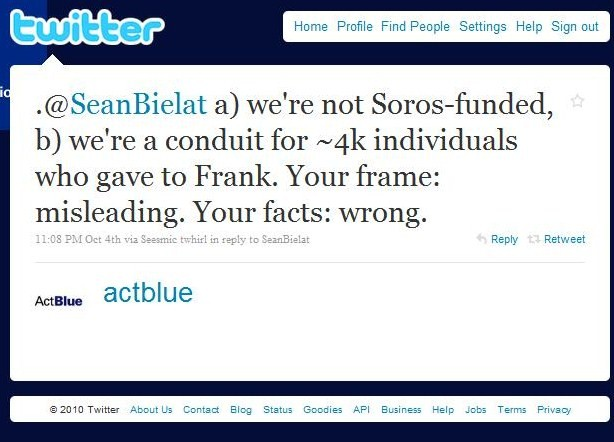 ActBlue tweet to Sean B