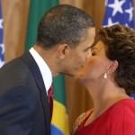 Obama in Brasilia greeting President Dilma Rousseff