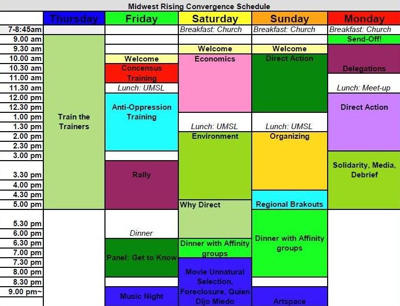 Convergence schedule calendar