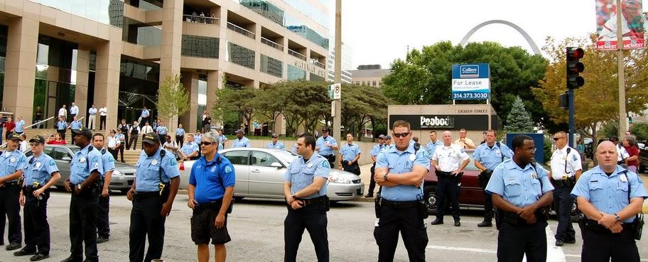 Cops in front of Peabody Coal