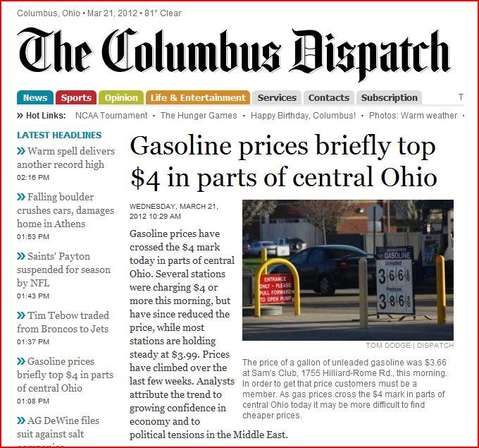 Dispatch headline on gas prices